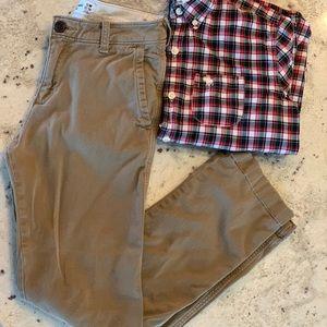 "Abercrombie kids ""Slim 13/14"" dark khaki pants."